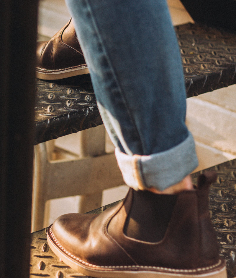 chelsea boots walking up stairs