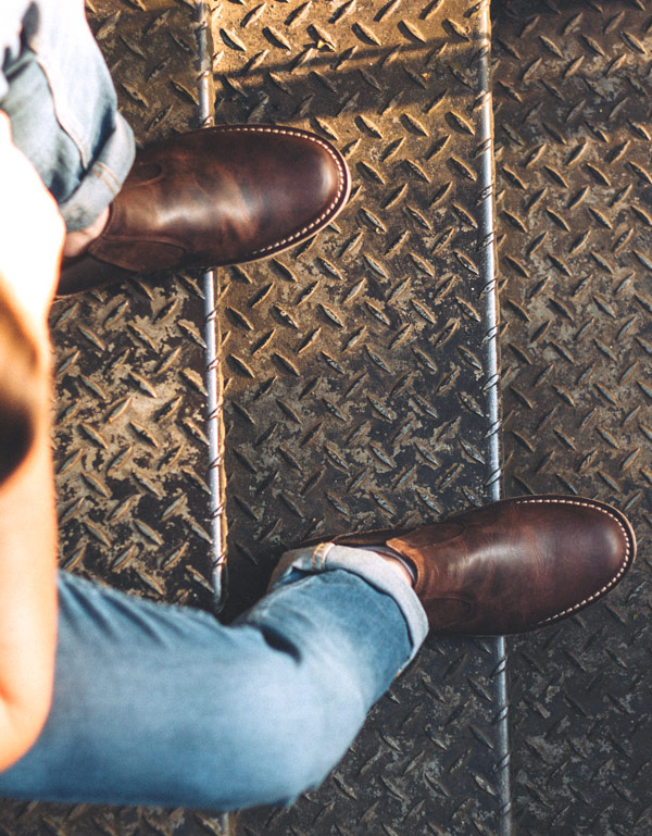 brown chelsea boots top view