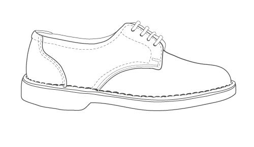 assegai leather shoe illustration
