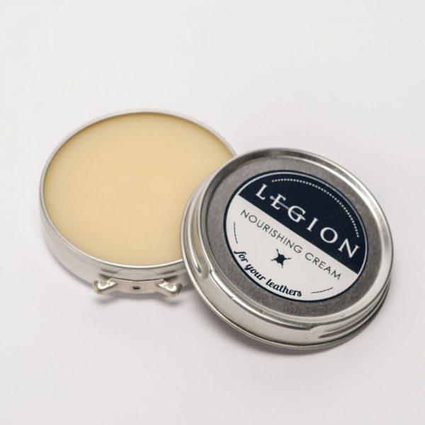 open tin of Legion nourishing cream
