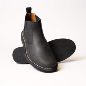 showing front and sole of lance chelsea boot in black