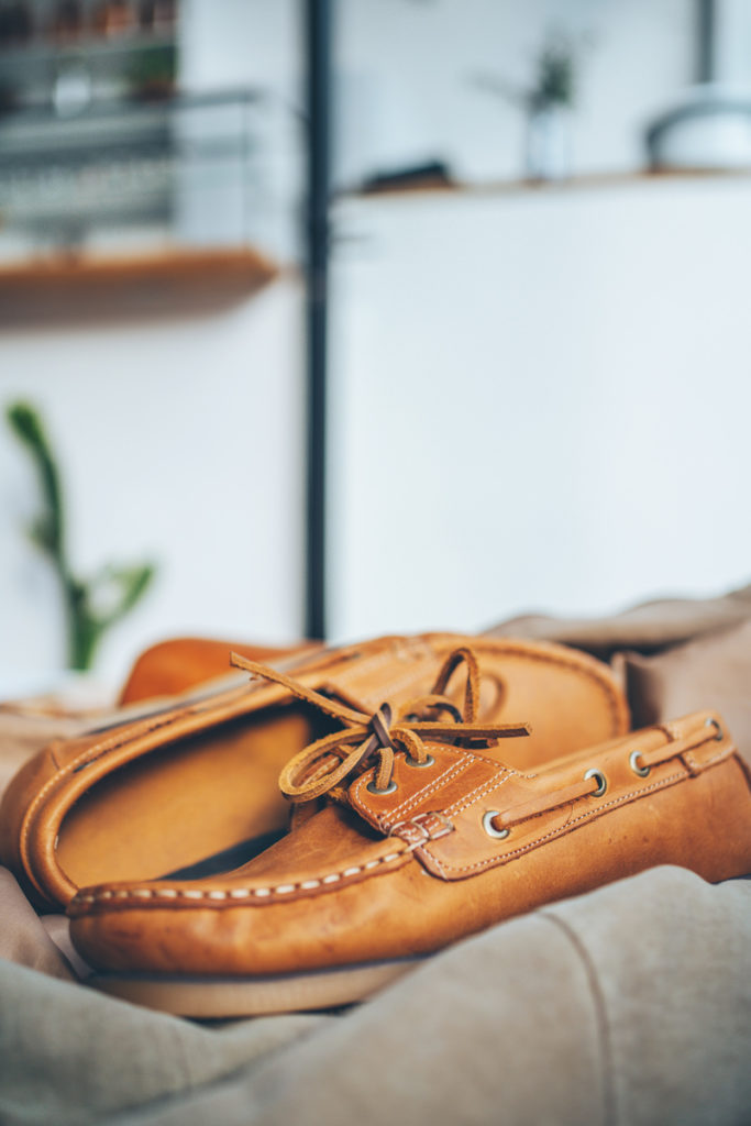 legion footware moccasin shoes on bag