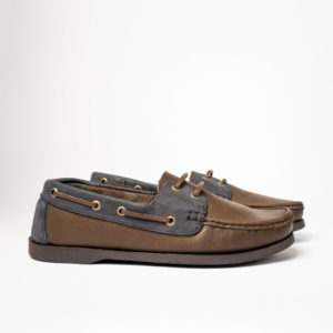 brown and blue pair of legion moccasins