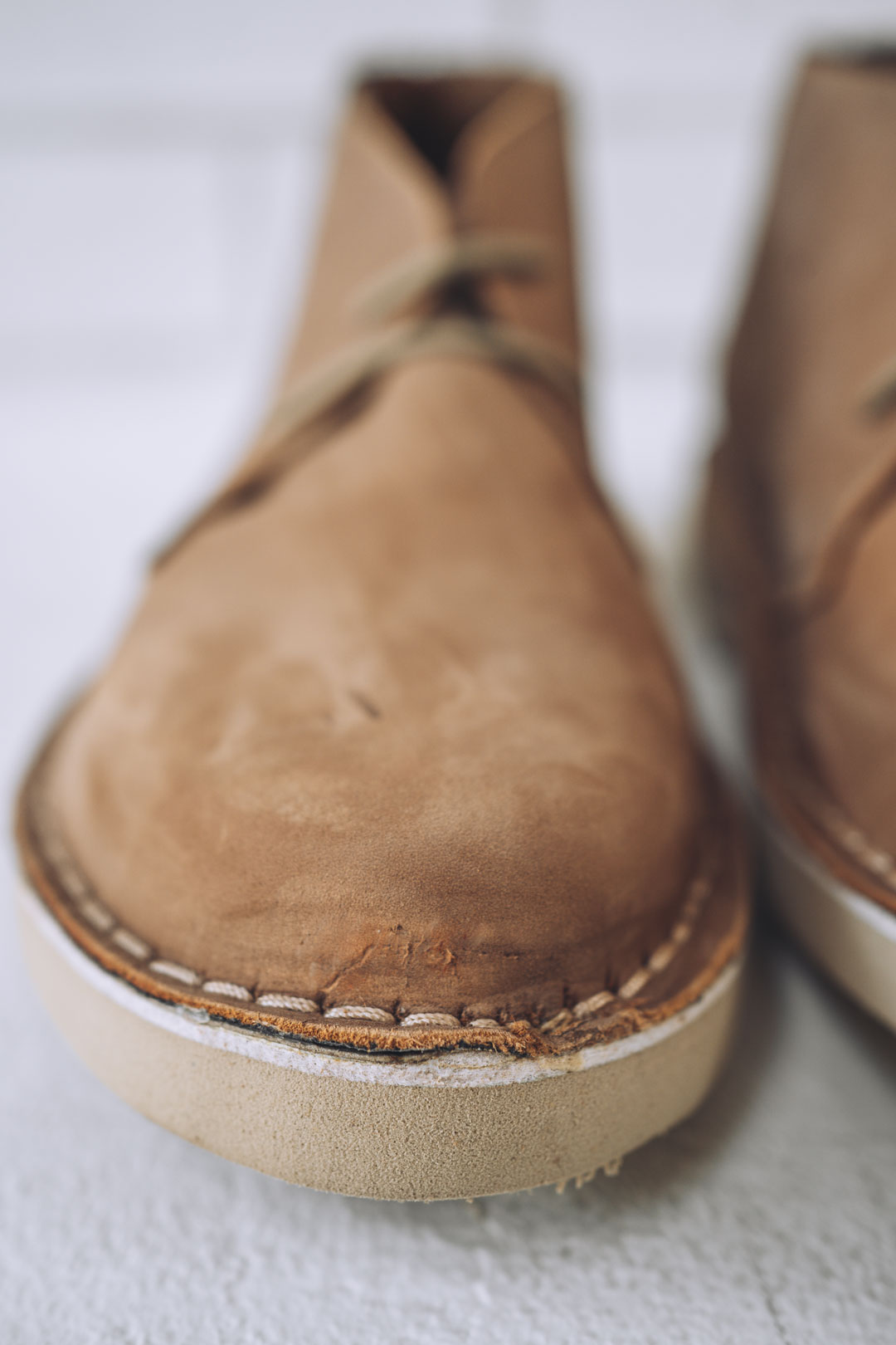 leather ankle boot with factory marks