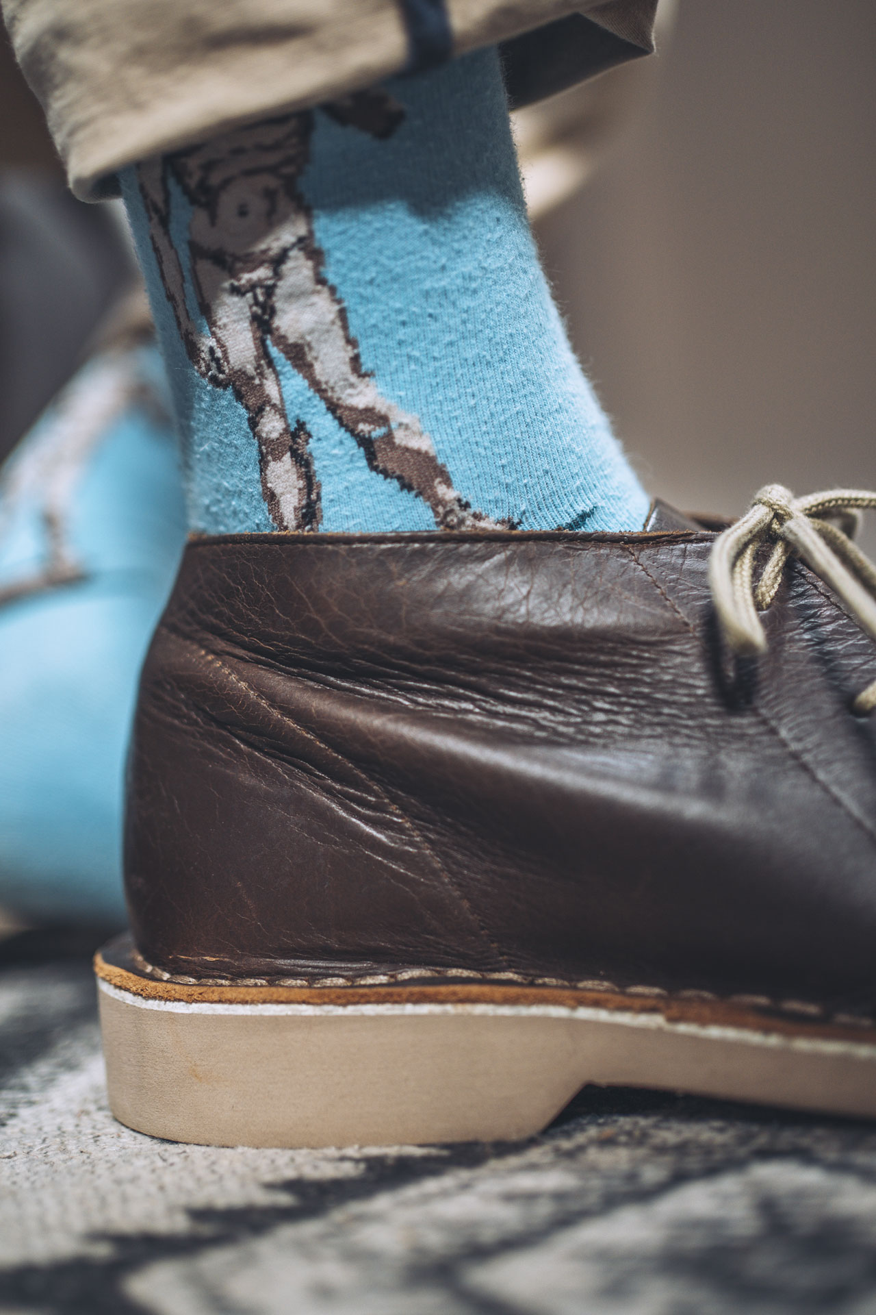 Leather boot with crinkles
