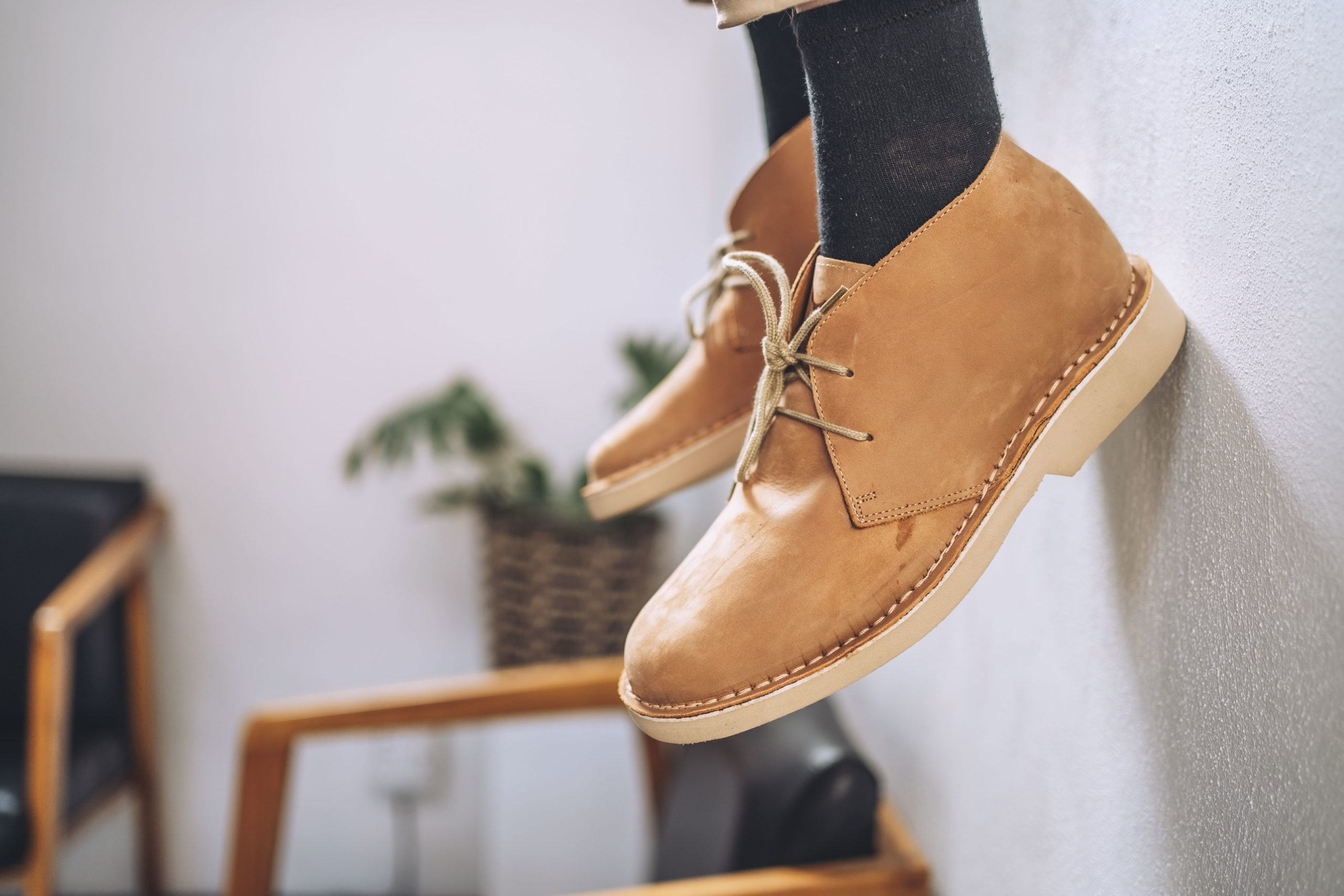 Leather boots with scuffs