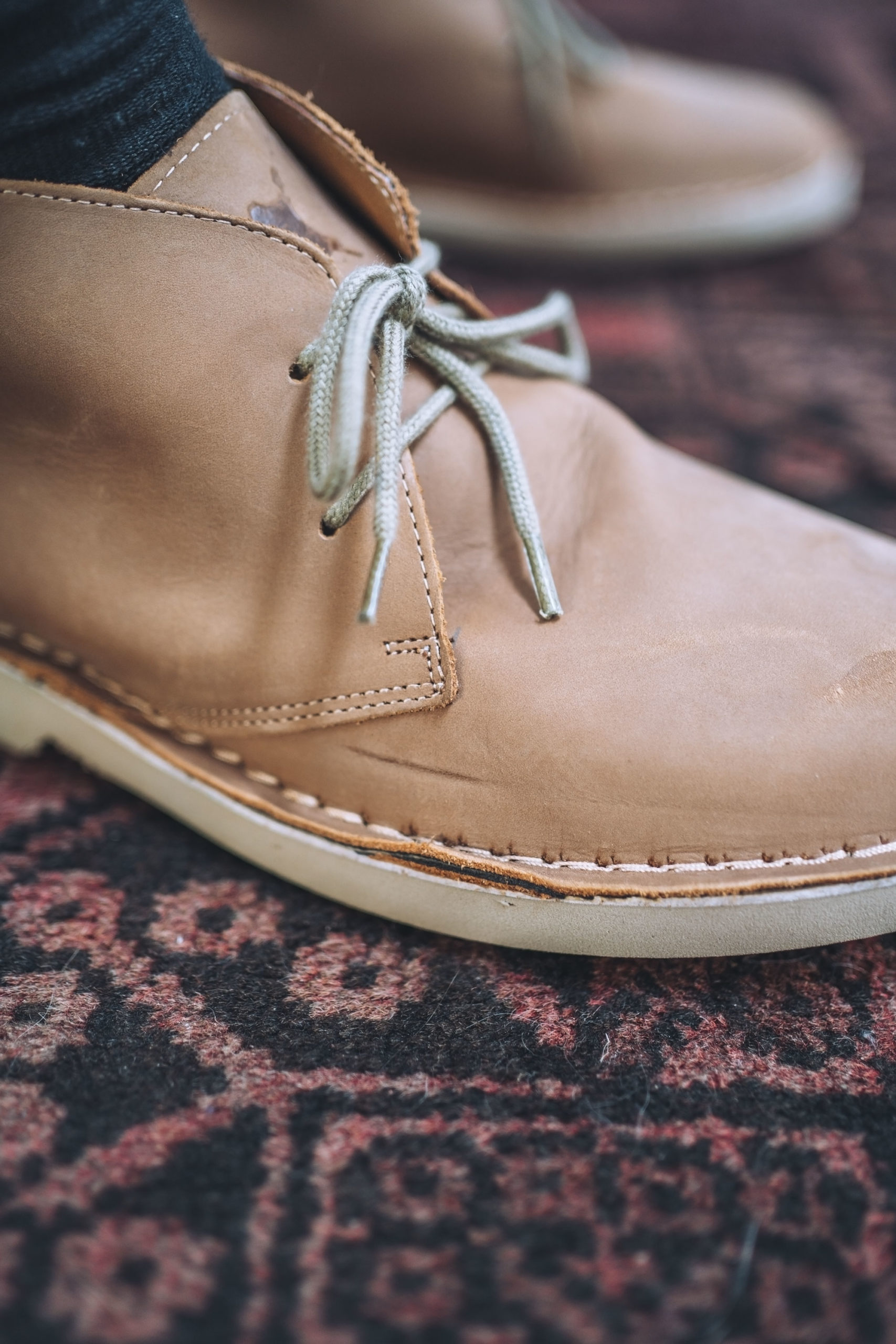 Leather boot with scuffs