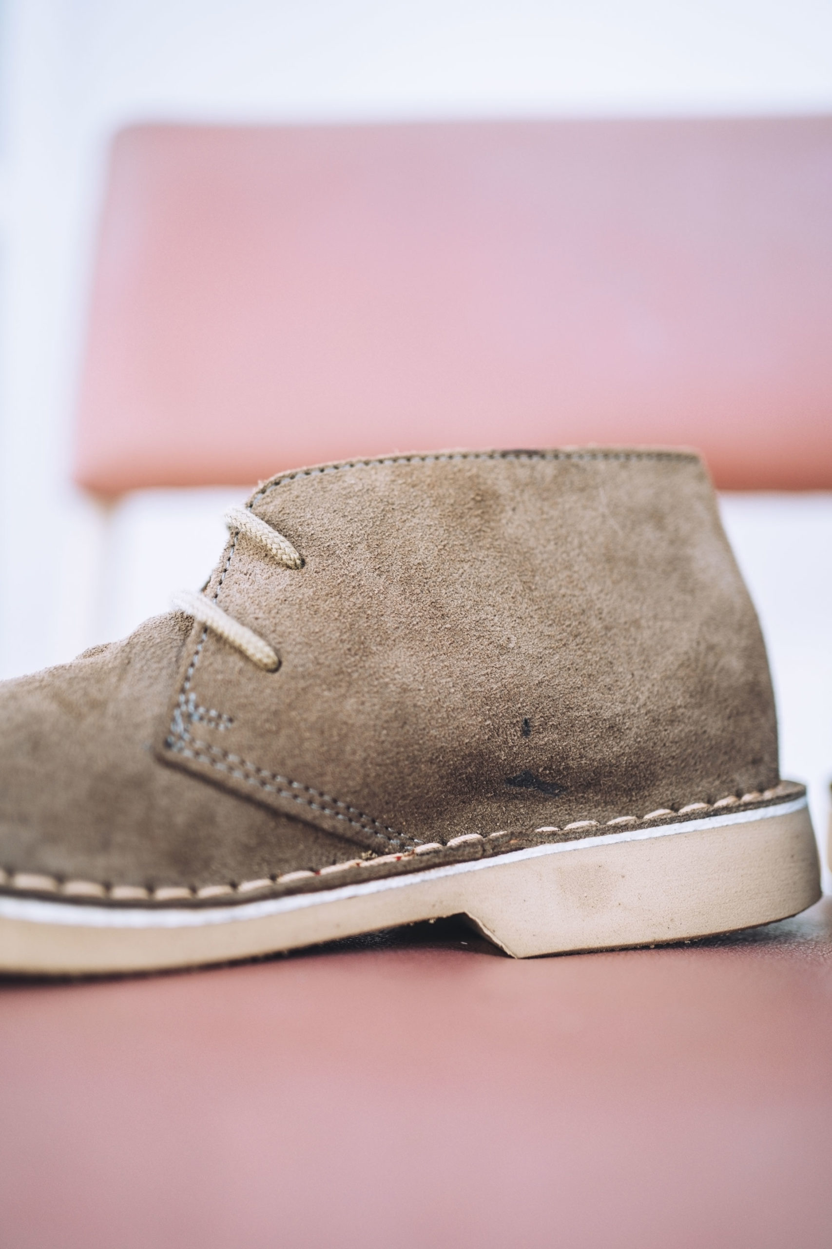 Leather boots with blemishes
